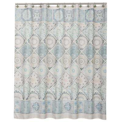 Modena 72 in. Light Blue Polyester Shower Curtain