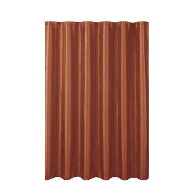 Jane Faux Silk 70 in. W x 72 in. L Shower Curtain with Metal Roller Hooks in Rust
