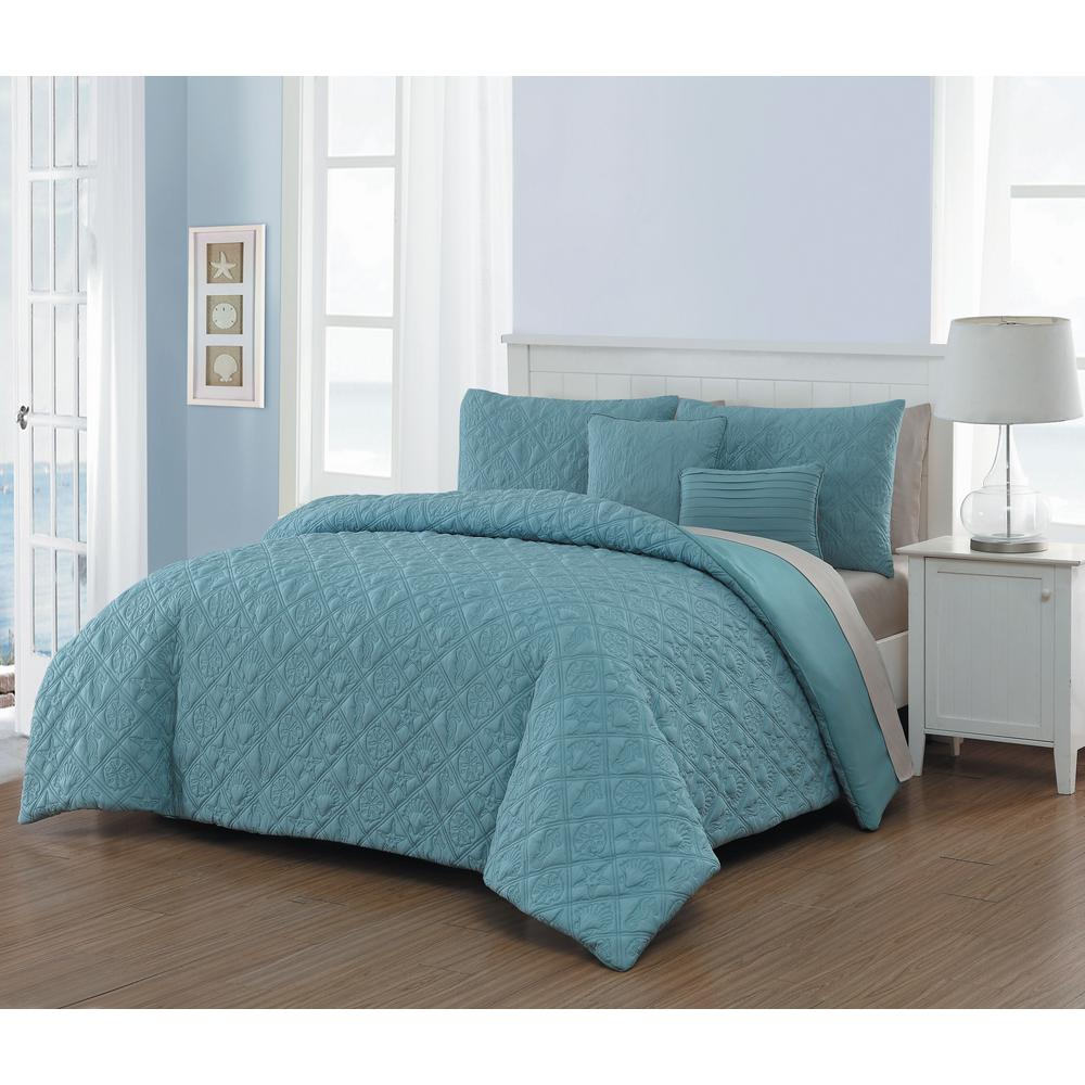 Avondale Manor Del Ray 9 Piece Blue Taupe Queen Quilt Set