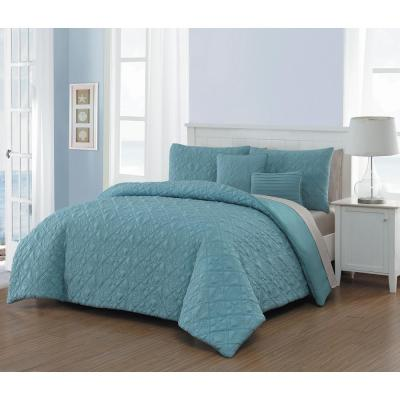 Del Ray 9-Piece Blue/Taupe Queen Quilt Set