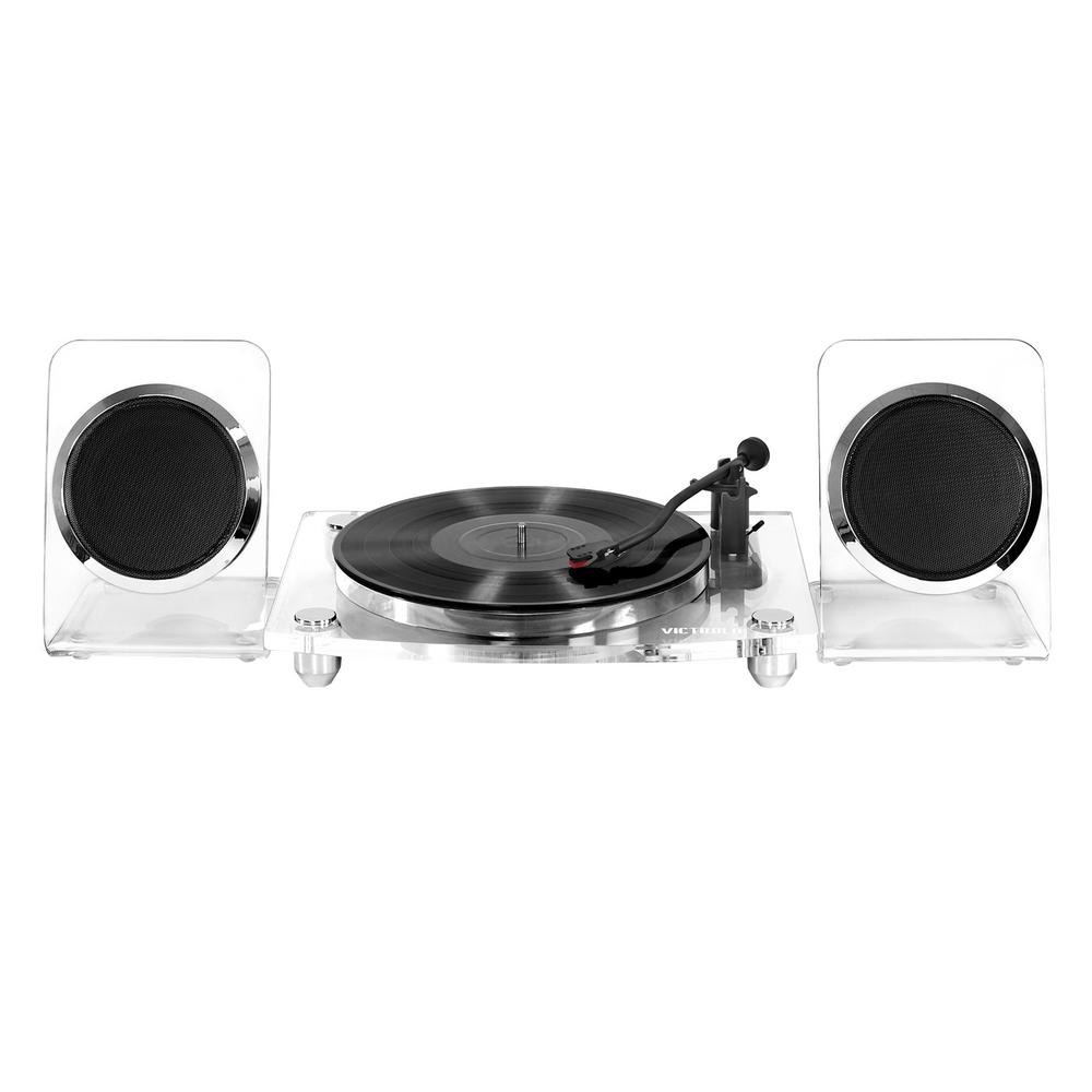 Acrylic Bluetooth 40-Watt Record Player with 2-Speed Turntable and Rechargeable Speakers in Clear Simplistic, elegant and expertly built. Crafted from Acrylic, this modern Bluetooth enabled. Record Player features a 2-speed belt driven turntable and true wireless rechargeable 40-Watt speakers.
