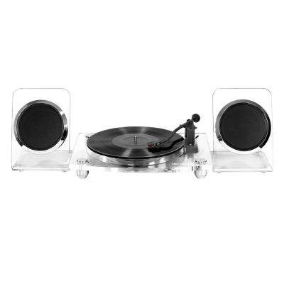 Acrylic Bluetooth 40-Watt Record Player with 2-Speed Turntable and Rechargeable Speakers in Clear