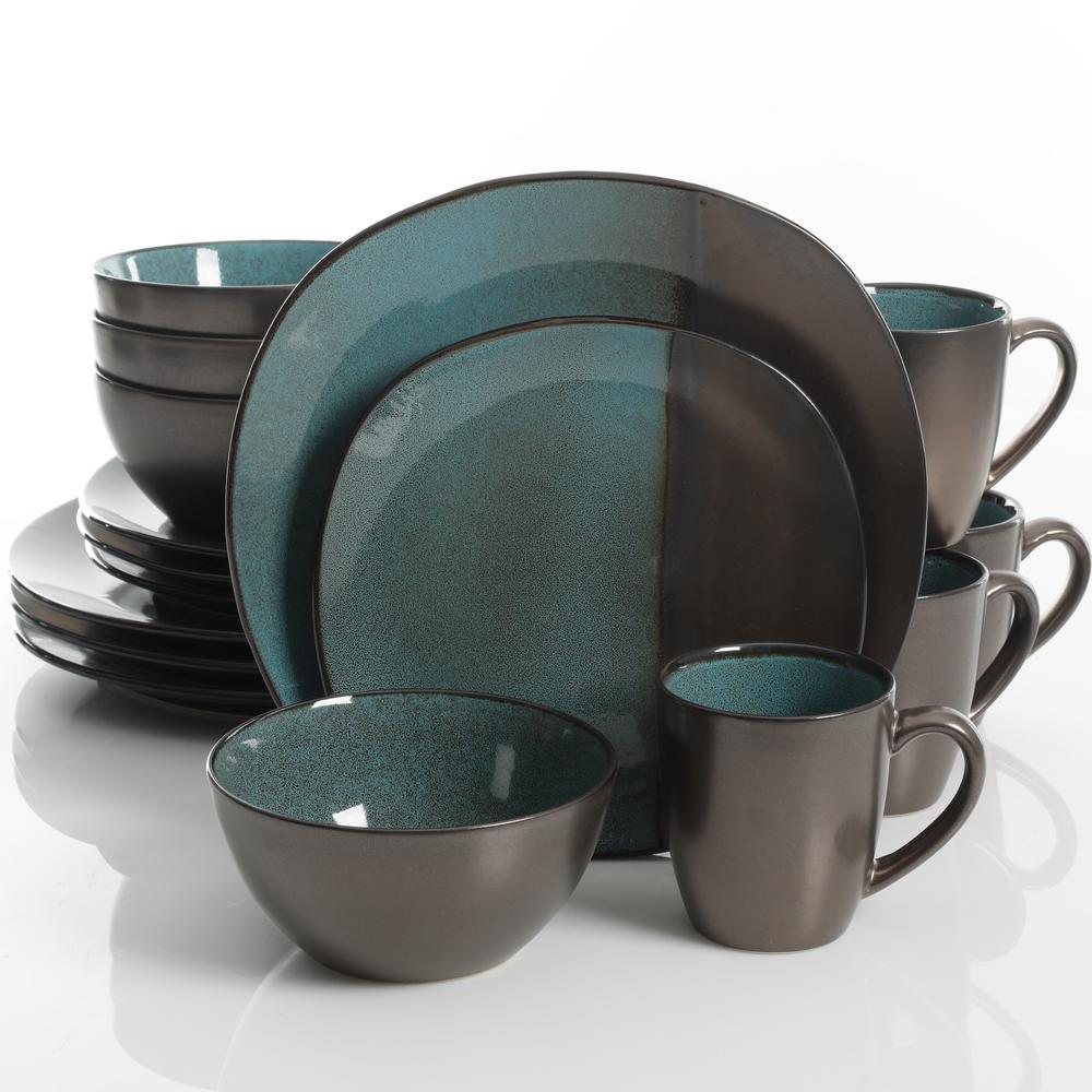 Volterra 16-Piece Teal Reactive Glaze Dinnerware Set