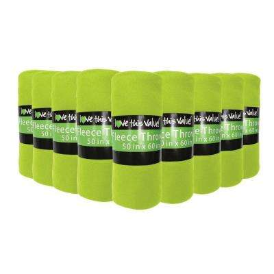 50 in. x 60 in. Lime Green Super Soft Fleece Throw Blanket (12-Pack)