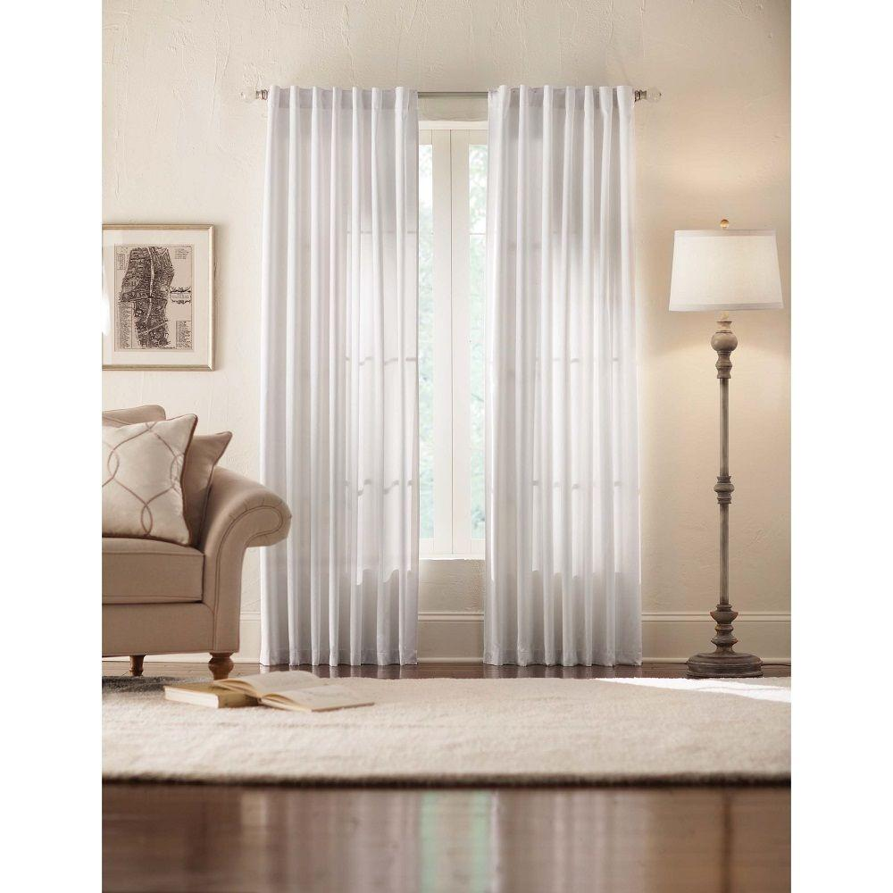 Home Decorators Collection Semi Opaque Monaco White Thermal Foam Backed Lined Back Tab Curtain