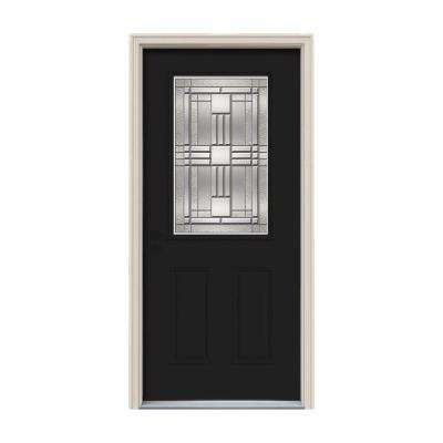 32 in. x 80 in. 1/2 Lite Cordova Black Painted Steel Prehung Right-Hand Inswing Front Door w/Brickmould