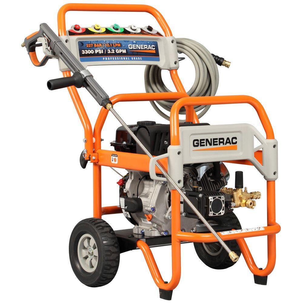 Generac 3300 psi 3.2 GPM OHV Engine Triplex Pump Gas Powered Pressure Washer-DISCONTINUED