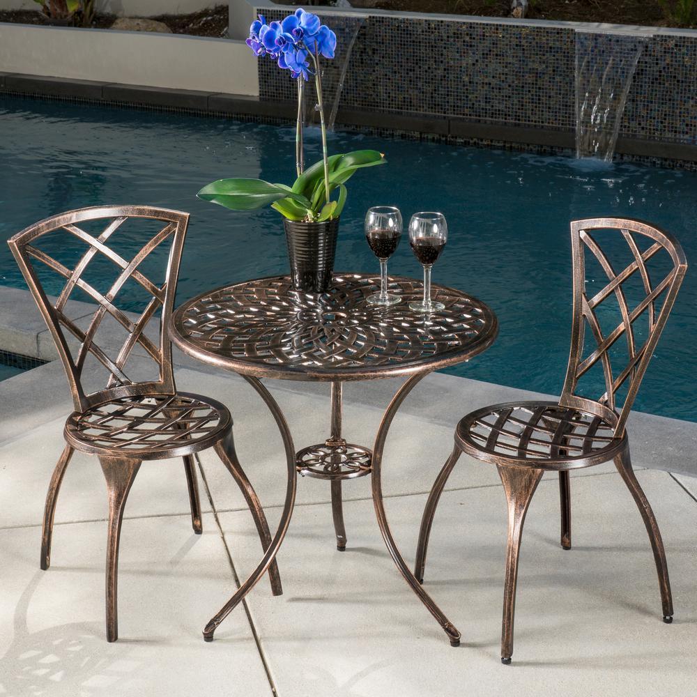 Modern Brown 3-Piece Aluminum Round Outdoor Bistro Set