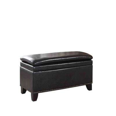 Espresso Double Cushion Nail Head Storage Bench
