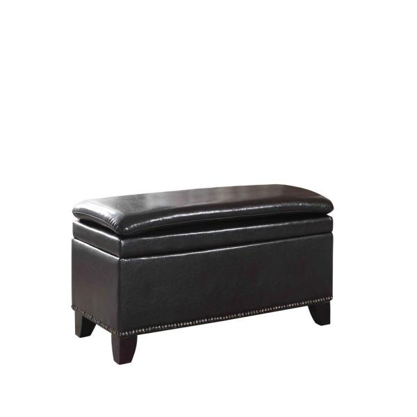 undefined Espresso Double Cushion Nail Head Storage Bench