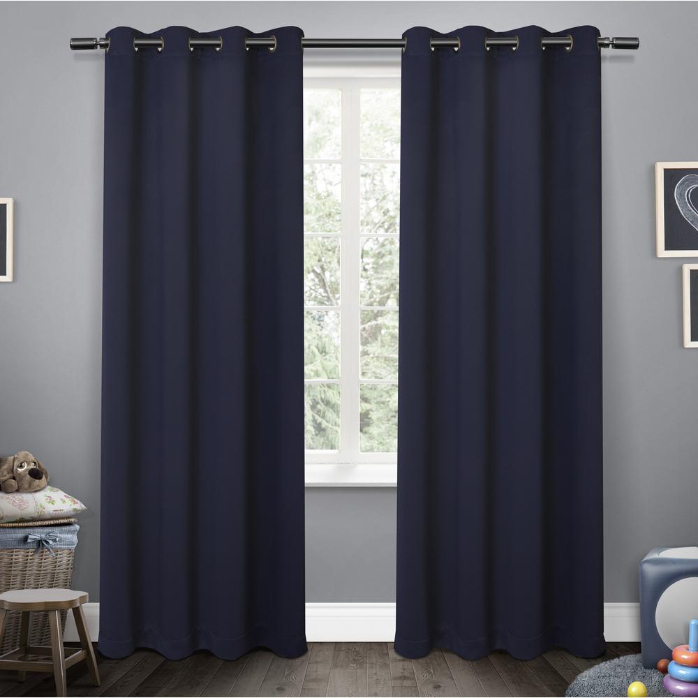 Sateen Kids 52 in. W x 96 in. L Woven Blackout Grommet Top Curtain Panel in Navy (2 Panels)