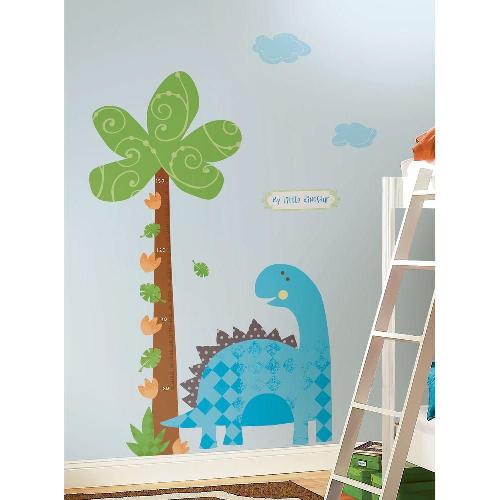null 27 in. x 40 in. Babysaurus 21-Piece Peel and Stick Growth Chart - METRIC