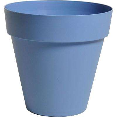 Rio 11.5 in. Dia  Blue Plastic Planter