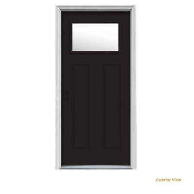 34 in. x 80 in. 1 Lite Craftsman Black w/ White Interior Steel Prehung Right-Hand Inswing Front Door w/Brickmould