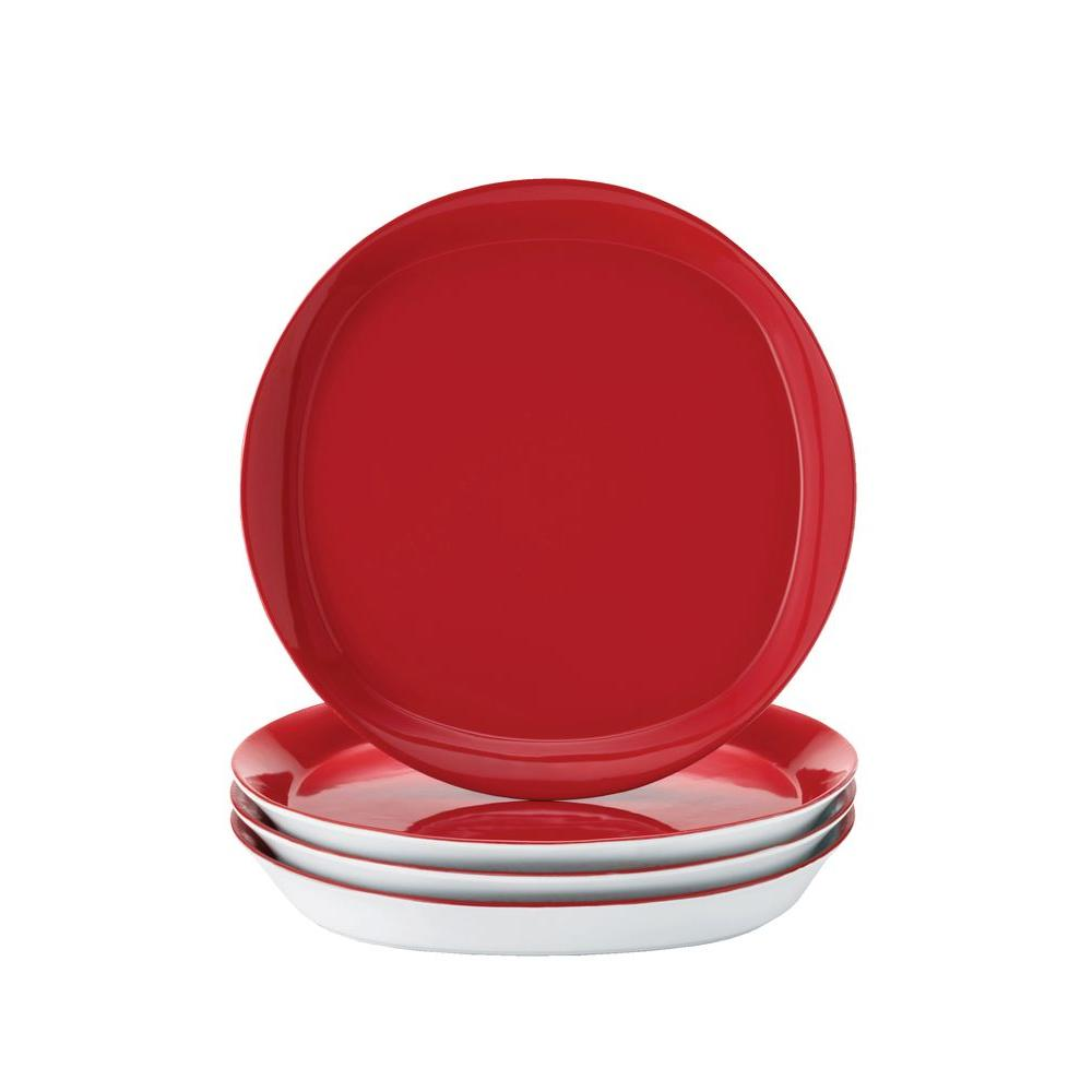 Rachael Ray 11 in. Dinner Plates in Red (4-Pack)