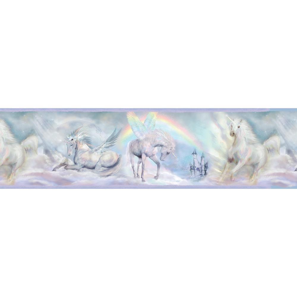 Farewell Blue Unicorn Dreams Portrait Wallpaper Border Sample