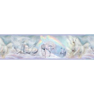 Farewell Blue Unicorn Dreams Portrait Purple Wallpaper Border