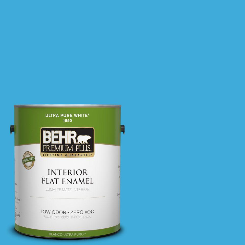BEHR Premium Plus 1-gal. #550B-5 Windjammer Zero VOC Flat Enamel Interior Paint-DISCONTINUED