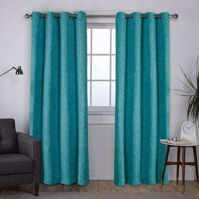 Vesta 52 in. W x 96 in. L Woven Blackout Grommet Top Curtain Panel in Teal (2 Panels)
