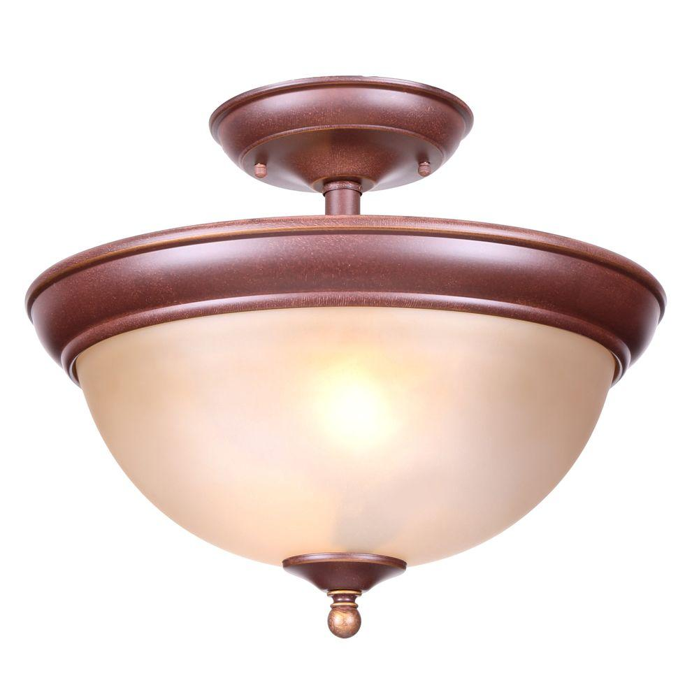 Hampton Bay Bristol Collection 13 in. 2-Light Nutmeg Bronze Semi-Flush Mount with Tea Stained Glass Shade