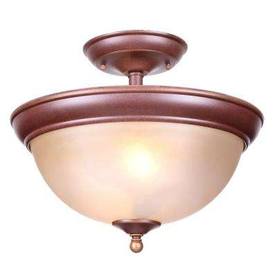 Bristol Collection 13 in. 2-Light Nutmeg Bronze Semi-Flushmount with Tea Stained Glass Shade