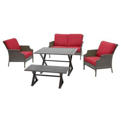 Grayson Ash Gray 5-Piece Wicker Outdoor Patio Dining Set with CushionGuard Chili Red Cushions