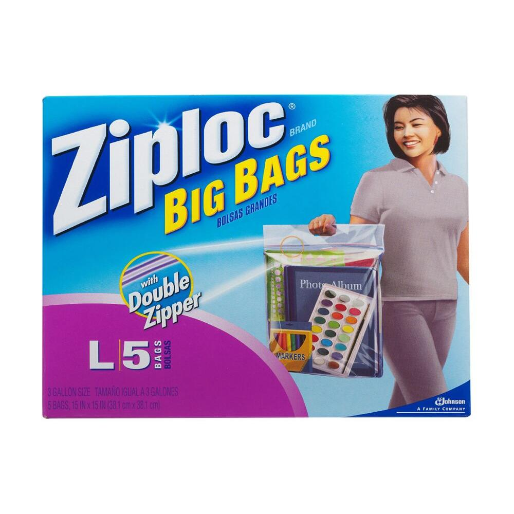 Ziploc 3 gal. Big Plastic Storage Bag with Douple Zipper 5-Bag (8-Pack)