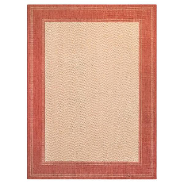 Border Red/Beige 5 ft. x 7 ft. Indoor/Outdoor Area Rug