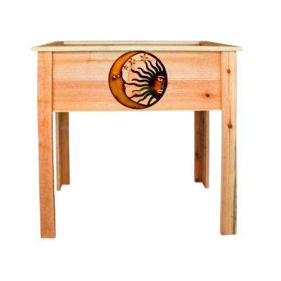 36 in. Redwood Raised Planter with Celestial Design