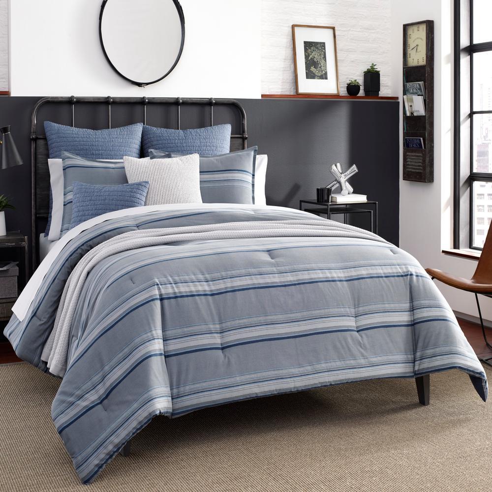 Eastbury 3-Piece Gray Striped Cotton Full/Queen Comforter set