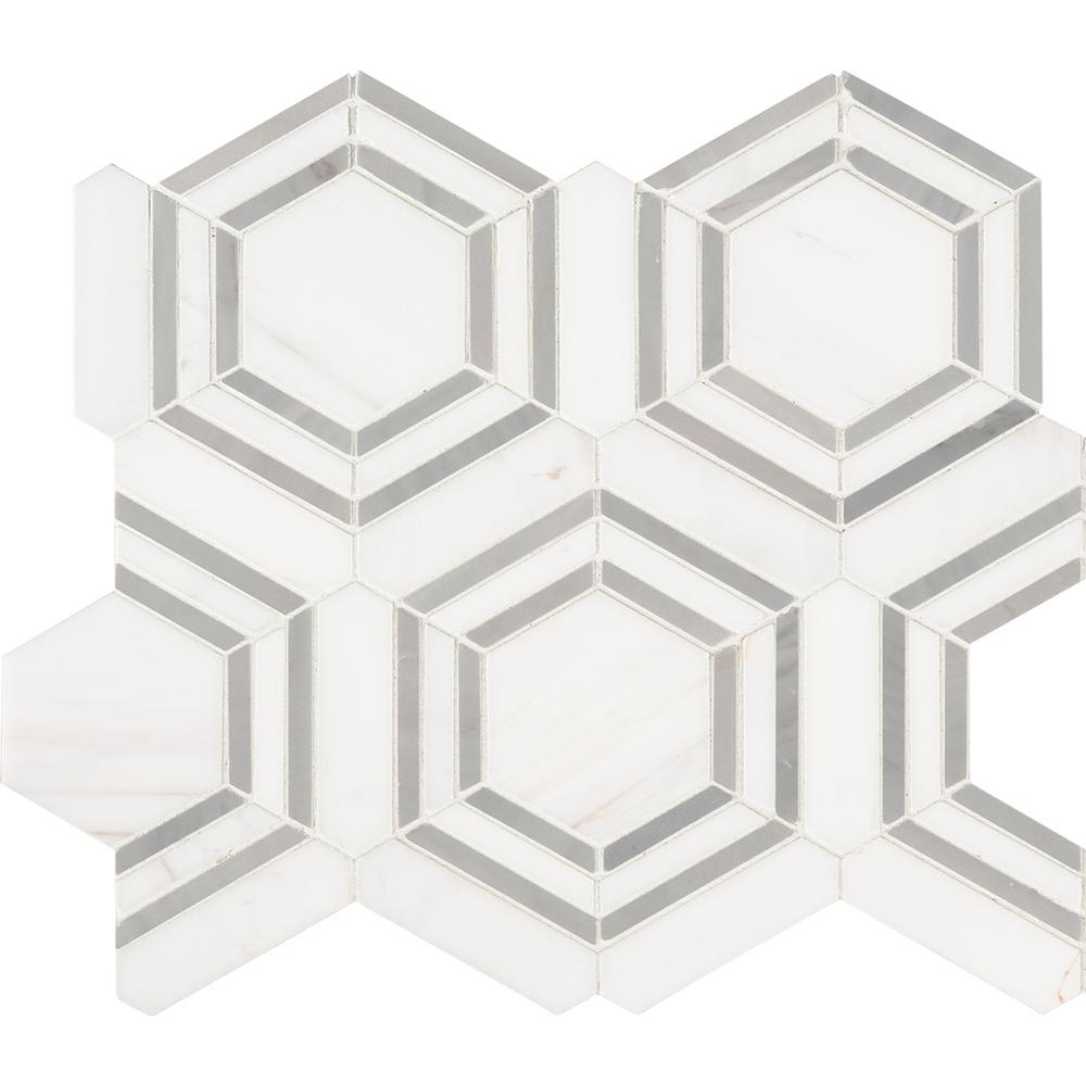 MSI Georama Grigio 13 in. x 11 in. x 10mm Polished Marble Mesh-Mounted Mosaic Tile (9.99 sq. ft./Case)