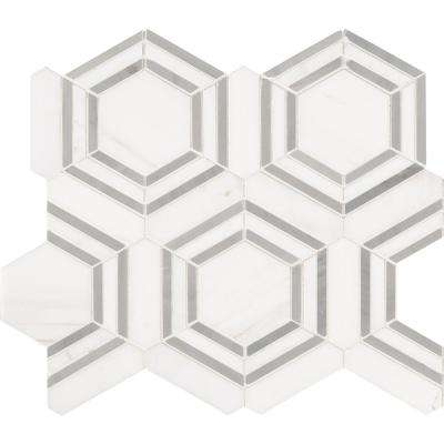 Georama Grigio 13 in. x 11 in. x 10mm Polished Marble Mesh-Mounted Mosaic Tile (9.99 sq. ft./Case)