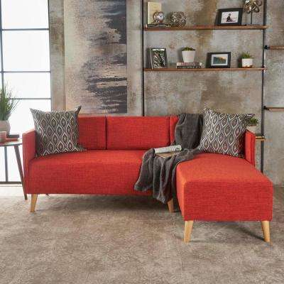 2-Piece Muted Orange Fabric Chaise Sectional