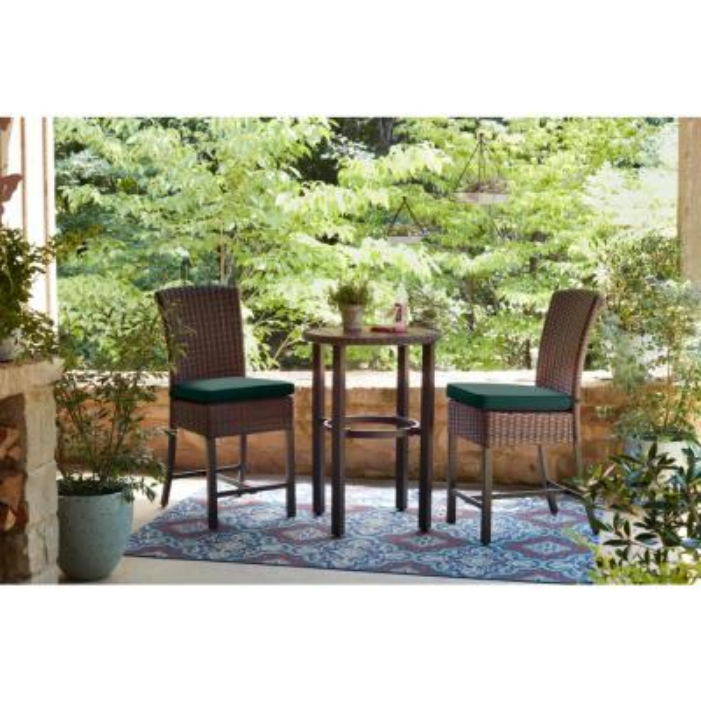 Harper Creek Brown 3-Piece Steel Outdoor Patio Bar Height Dining Set with CushionGuard Charleston Blue-Green Cushions