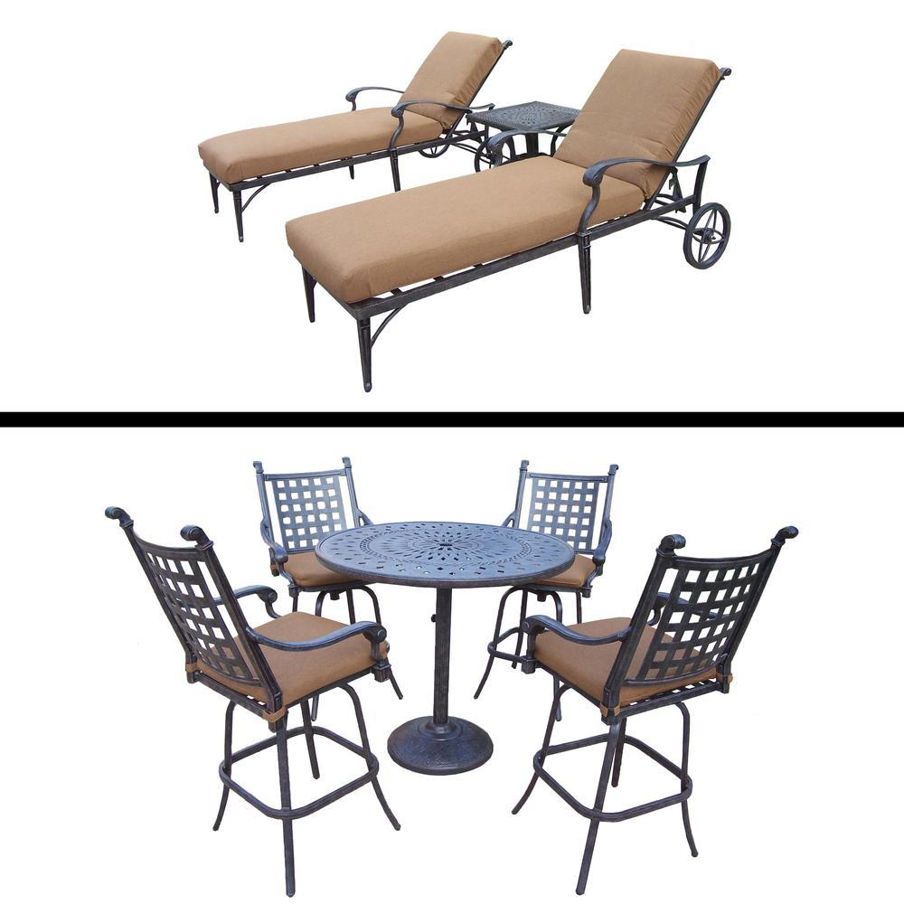 Belmont Premier 8-Piece Aluminum Outdoor Bar Height Dining Set with Sunbrella Brown Cushions