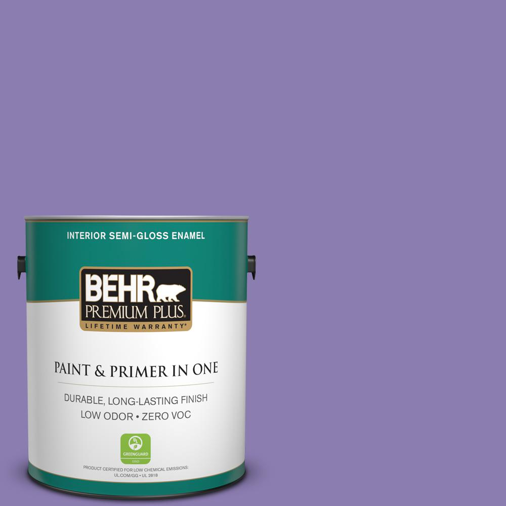 1 gal. #PPU16-04 Purple Agate Zero VOC Semi-Gloss Enamel Interior Paint