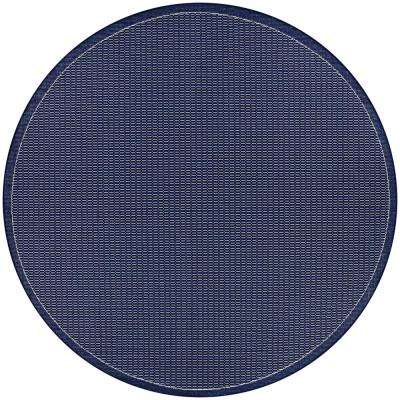 Recife Saddle Stitch Ivory-Indigo 9 ft. x 9 ft. Round Indoor/Outdoor Area Rug