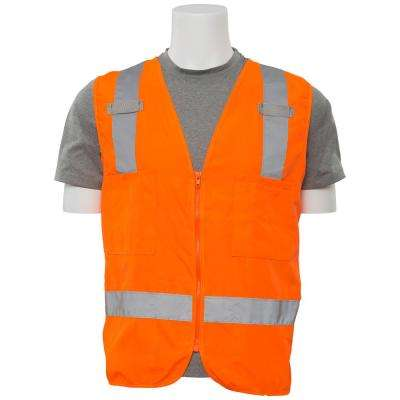 S414 5X Class 2 Poly Oxford Surveyor Hi Viz Orange Vest