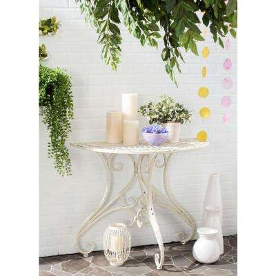 Annalise Outdoor Antique White Iron Round Patio Accent Table