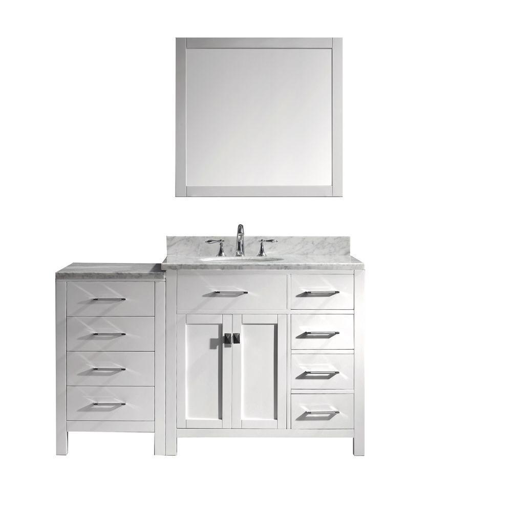 Virtu Vanity Marble Vanity Top White Round Basin Mirror