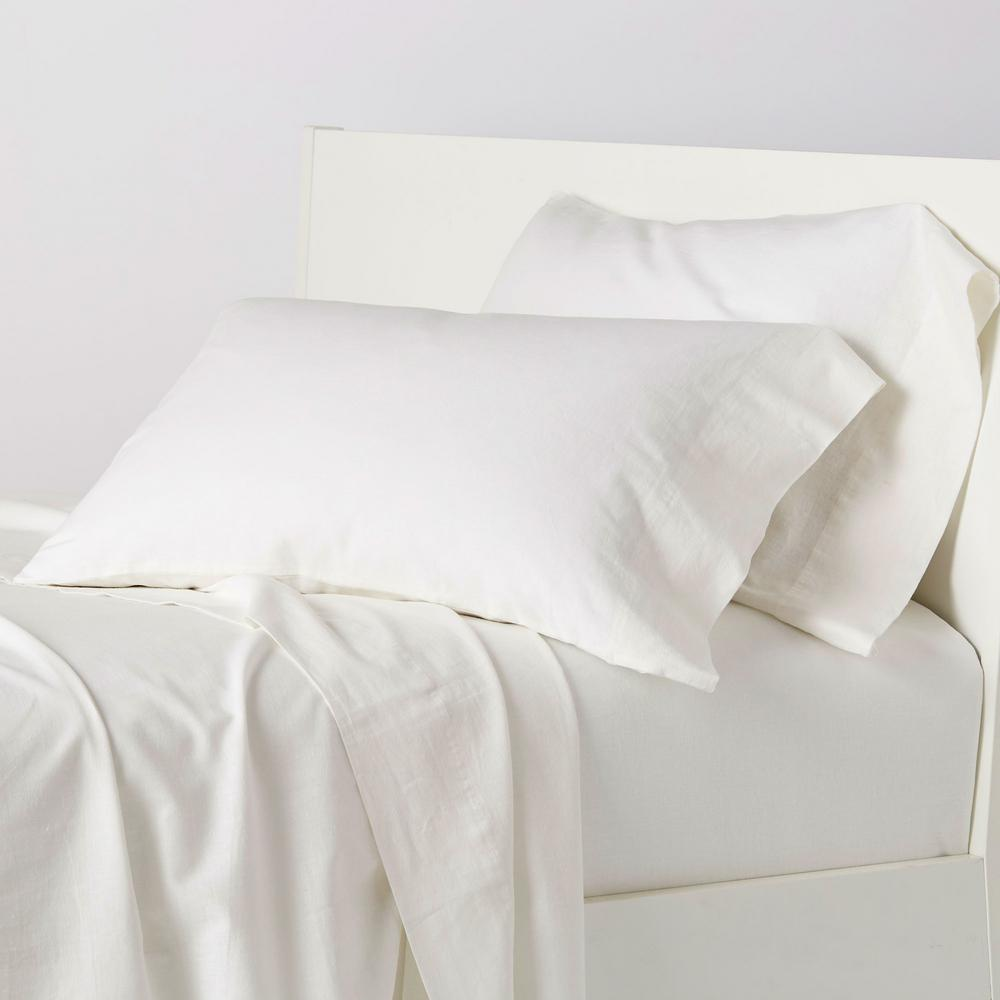 TheCompanyStore The Company Store Linen Cotton Solid 4-Piece Snow Queen Sheet Set