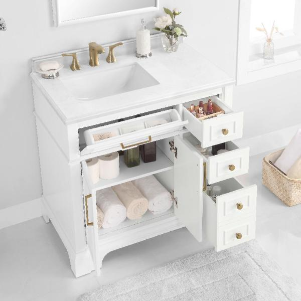Reviews For Home Decorators Collection Melpark 36 In W X 22 In D Bath Vanity In White With Cultured Marble Vanity Top In White With White Sink Melpark 36w The Home Depot