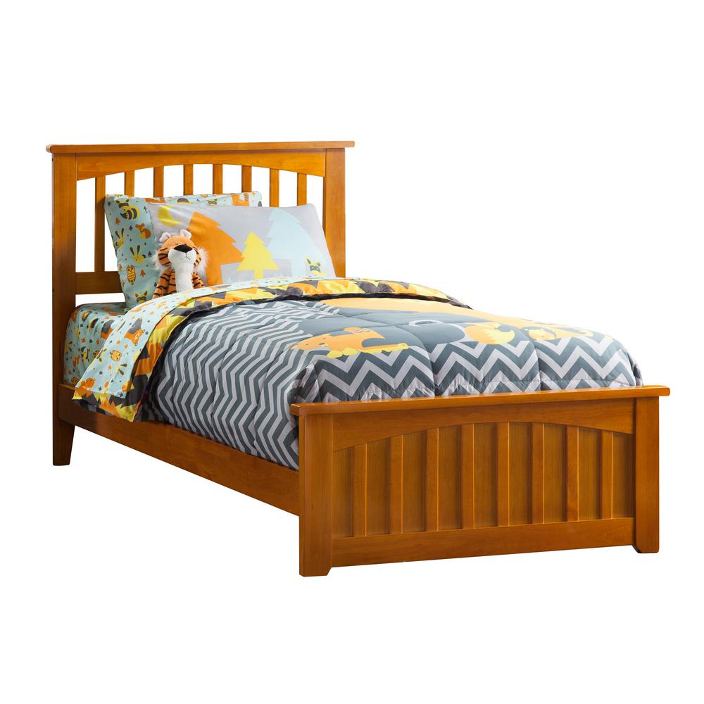 new product 1e9e9 0a906 Atlantic Furniture Mission Caramel Twin Traditional Bed with Matching Foot  Board