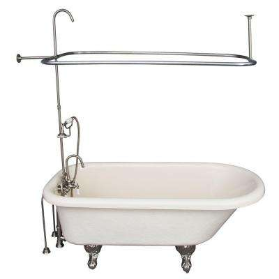 5 ft. Acrylic Ball and Claw Feet Roll Top Tub in Bisque with Brushed Nickel Accessories