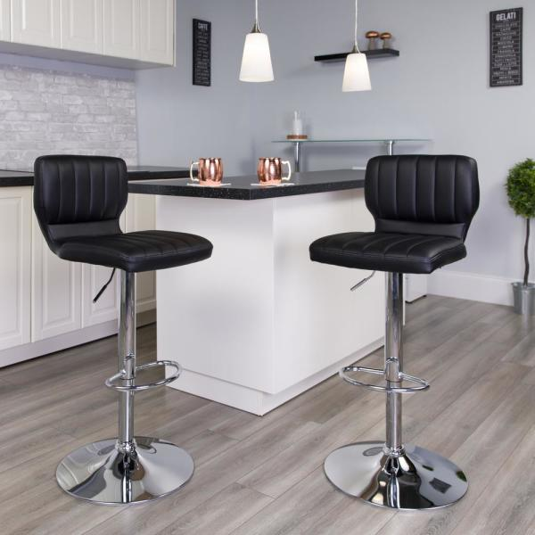 Flash Furniture Adjustable Height Black Cushioned Bar Stool CH132330BK