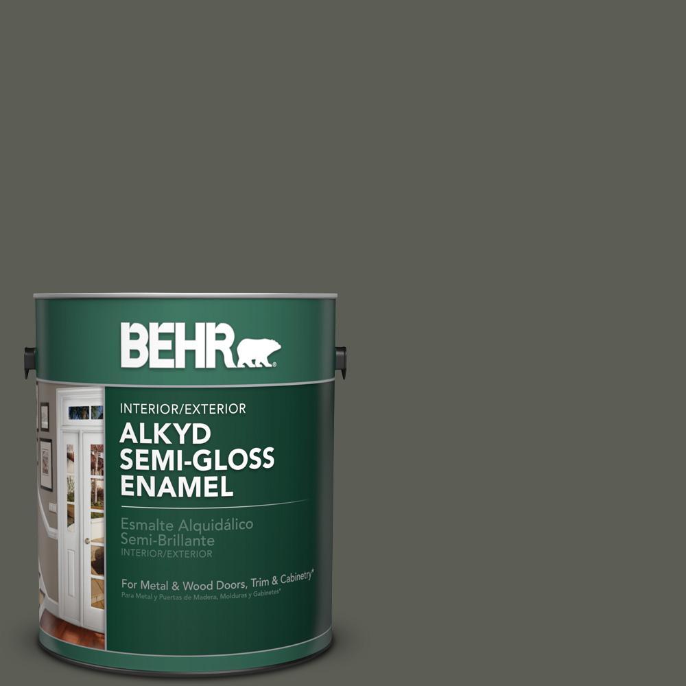 1 gal. #N380-7 Black Bamboo Semi-Gloss Enamel Alkyd Interior/Exterior Paint