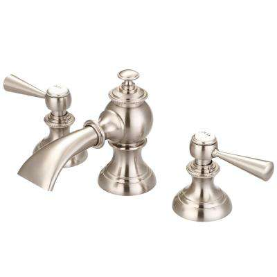 Modern Classic 8 in. Widespread 2-Handle Bathroom Faucet with Pop Up Drain in Satin Nickel