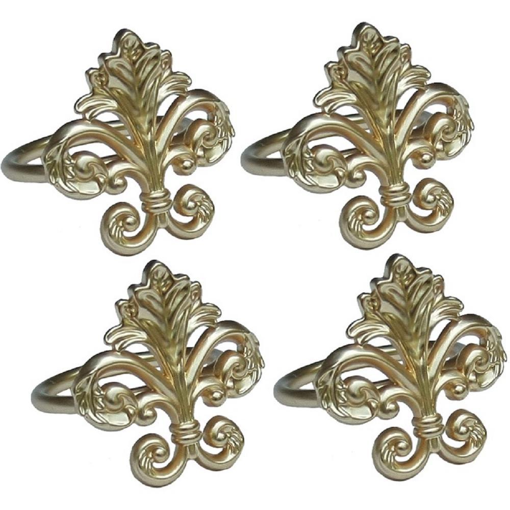 Fleur de Lis Elegant Gold Metal Napkin Rings (Set of 4)