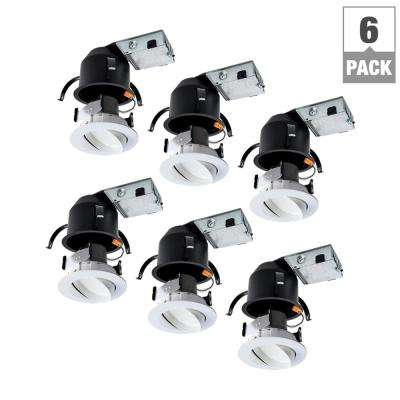 RA 4 in. Ultra-Shallow Remodel Ceiling Housing and Dimmable White Integrated LED Recessed Spotlight Kit, T24, (6-Pack)