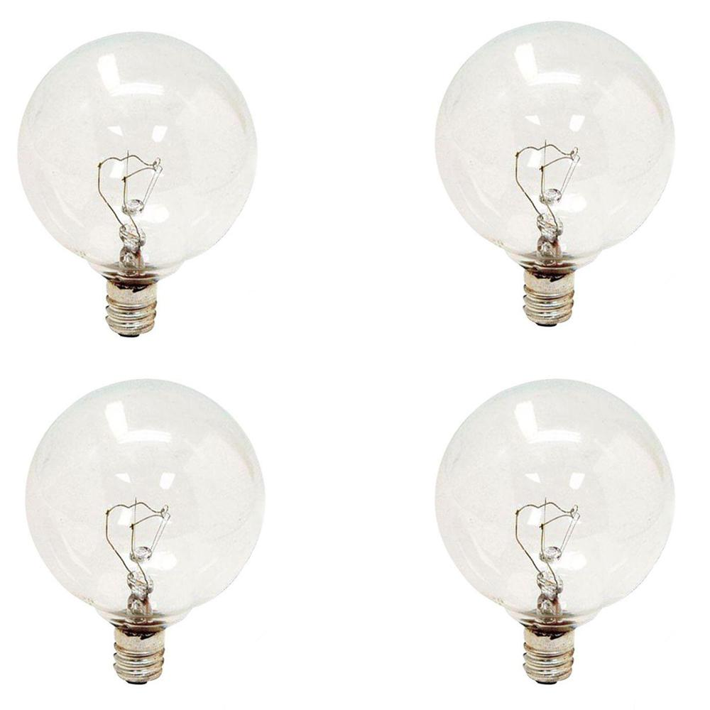 25-Watt Incandescent G16.5 Globe Candelabra Base Clear Light Bulb (4-Pack)